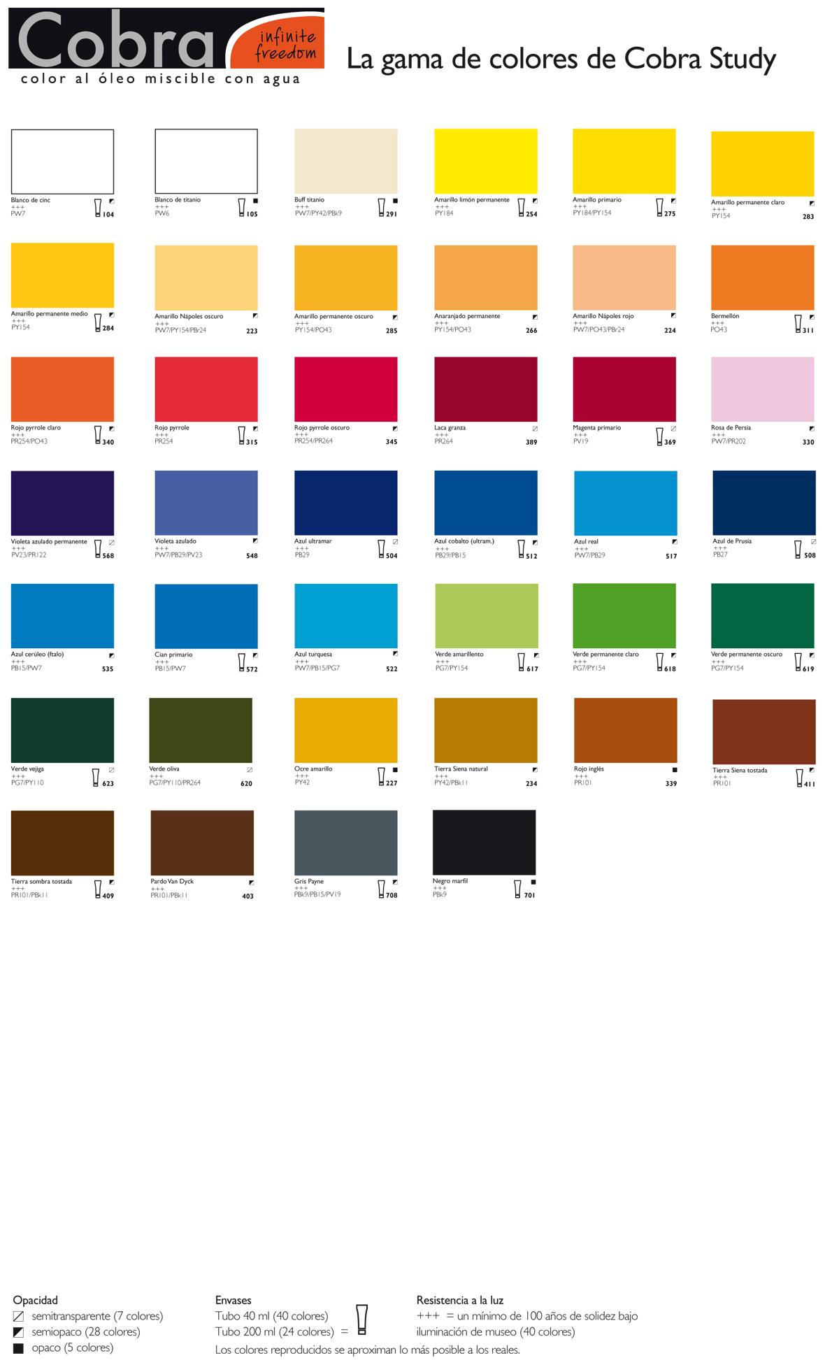 Leo miscible al agua comprar en tienda online de venta for Tabla de colores de pintura
